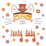 Cute cat in funky hat and glasses. Hand drawn vector portrait of a cute funny cartoon cat in funky hat and glasses, with typography. Isolated objects on white Royalty Free Stock Photography