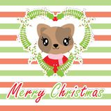 Cute cat girl in berry wreath on striped background. Cartoon illustration for Christmas card design, wallpaper and greeting card Stock Photos