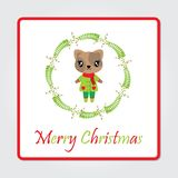 Cute cat girl in berry wreath vector cartoon illustration for Christmas card design. Wallpaper and greeting card Stock Photography