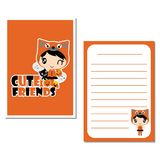 Cute cat girl and friends  cartoon illustration for halloween paper card design Stock Images