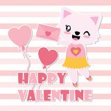 Cute cat girl gets love letter  cartoon illustration. For Happy Valentine card design, wallpaper, and postcard Stock Photos