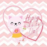 Cute cat girl gets love letter  cartoon illustration. For Happy Valentine card design, postcard, and wallpaper Stock Photo