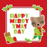 Cute cat girl and red berry frame  cartoon illustration for Christmas card design. Wallpaper and greeting card Stock Photography