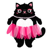 Cute cat girl in skirt . vector illustration. Stock Photos
