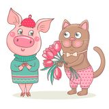 Cute cat gives a bouquet of pink tulips to the pig. Romantic pig is wearing a sweater and beret. She is very happy. Perfect design for a romantic greeting card stock illustration