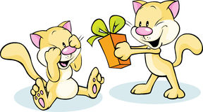 Cute cat giving gift - funny illustration on white Royalty Free Stock Photos