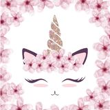 Cute cat graphic with unicorn horn and flower crown royalty free illustration