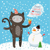 Cute cat. Greeting card Royalty Free Stock Photos