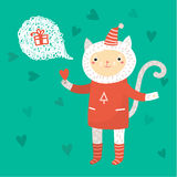 Cute cat. Greeting card Royalty Free Stock Images