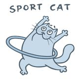 Cute cat gymnastics with hoop. Vector illustration royalty free stock images