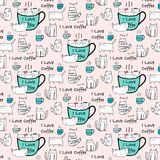 Cute Cat Hand Drawn Vector Pattern. Stock Images