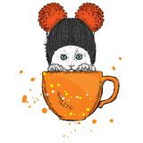 Cute cat in a hat sits in a cup. Vector illustration for a card or poster. stock illustration
