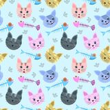 Cute Cat head and fish bone. Cute Cat head and fish bone on blue background vector seamless pattern Royalty Free Stock Image