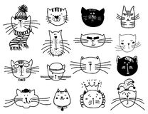Cute cat heads vector set in hand drawn Royalty Free Stock Images