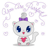 Cute cat with heart Stock Photo