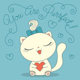 Cute cat with heart Royalty Free Stock Photography