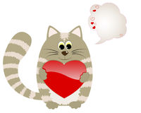 Cute cat with heart and speech bubble. Royalty Free Stock Images