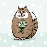 Cute cat holding a fish in paws. Cute cartoon cat holding a fish in paws Royalty Free Stock Photo