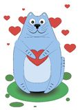 Cute cat holding a heart in his paws Royalty Free Stock Photos