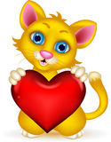 Cute Cat holding heart love. Illustration of cute Cat holding heart love Royalty Free Stock Photo