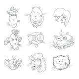 Cute cat icon set Royalty Free Stock Photos