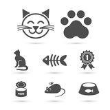 Cute cat icon symbol set on white. Vector Stock Photo