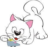 Cute cat illustration. A cartoon illustration of a cute cat playing with a wind-up mouse, isolated on a white background Stock Images