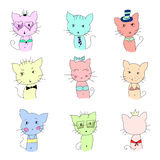 Cute cat illustration set. Cute cat illustration series. Funny colorful cats. Vector illustration Royalty Free Stock Images