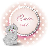 Cute cat. Illustration of a cute cat vector draw Royalty Free Stock Photography