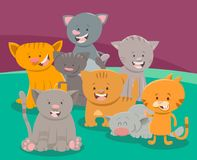 Cute cat or kitten characters group. Cartoon Vector Illustration of Funny Cats or Kittens Characters Group Stock Photo
