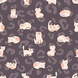 Cat cute hand drawn seamless pattern in kids style vector illustration