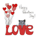 Cute cat with lettering - Love. Valentines card template Stock Image
