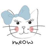 Cute Cat. Little Kitty , Bow. Meow Slogan Stock Images