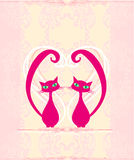 Cute cat in love card. Illustration Stock Photo