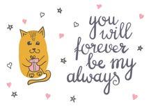 Cute cat in love romantic vector illustration. Royalty Free Stock Photo