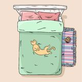 Cute cat lying on the bed belly up. Top view. Cartoon style image. Cute cat lying on the bed belly up. Top view royalty free illustration