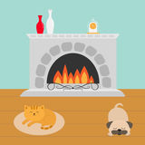 Cute cat lying on oval carpet rug mat. Sleeping mops pug dog. Funny cartoon character. Fireplace with vase set and clock. Burning. Fire. Flat design. Vector Stock Photography