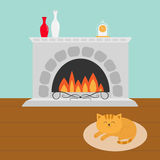 Cute cat lying sleeping on oval carpet rug mat. Funny cartoon character. Fireplace with vase set and clock. Burning fire Royalty Free Stock Photography