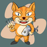 The cute cat man and his fish. Cute cat character vector illustration Stock Photo