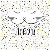 Cute cat and meow lettering. Hand drawn  T-shirt design or greeting card,vector illustration Royalty Free Stock Photography