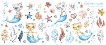 Cute cat mermaid, watercolor illustration set royalty free illustration