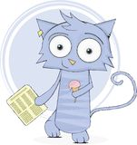 Cute cat with newspaper and ice-cream Stock Images