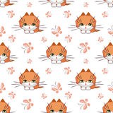 Cute cat pattern. Small funny kitten plays with a butterfly. Children`s full color seamless pattern in cartoon style Royalty Free Stock Photos