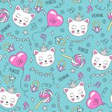 Cute cat pattern on a turquoise background. Colorful trendy seamless pattern. Fashion illustration drawing in modern style for vector illustration