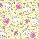 Cute cat pattern on a yellow background. Colorful trendy seamless pattern. Fashion illustration drawing in modern style for royalty free illustration