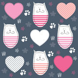 Cute cat and paw print vector illustration Royalty Free Stock Photos