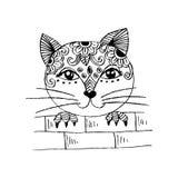 Cute cat peeping. Cartoon style. Stock Image