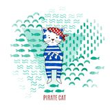Cute cat pirate vector illustration Royalty Free Stock Images