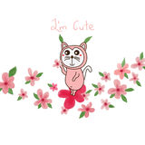Cute cat play flower leaves Royalty Free Stock Photos
