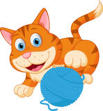 Cute cat playing with a ball royalty free illustration